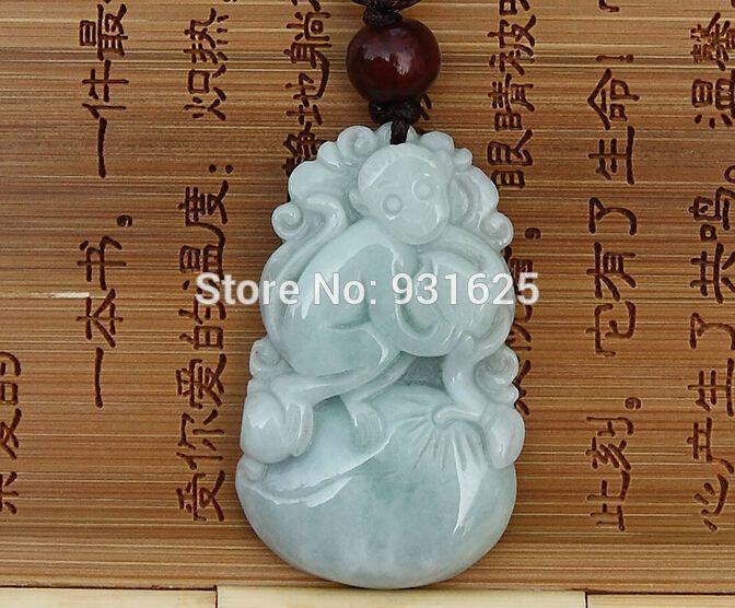 Natural jadeite carving chinese zodiac monkey jade pendant with natural jadeite carving chinese zodiac monkey jade pendant with cargo floating jadeite amulet pendants necklace jewelry aloadofball Images