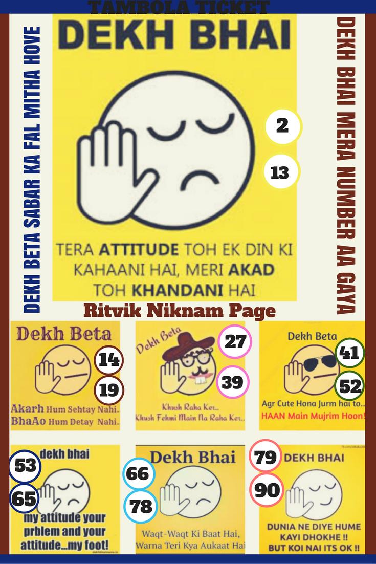 Copy And Print Tambola Tickets Free Ritvik Niknam Page Ladies