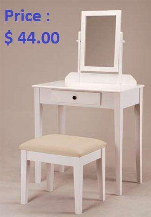 Furniture Bedroom White Founder Wooden Vanity Set W Stool