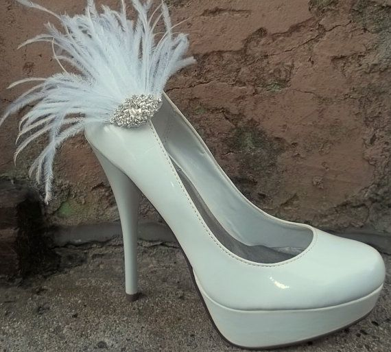 Bridal Feathered Shoe Clips  set of 2  Sparkling by ShoeClipsOnly, $32.00