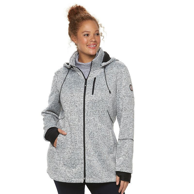 0b5bca41614 Plus Size HFX Hooded Bonded Fleece Jacket