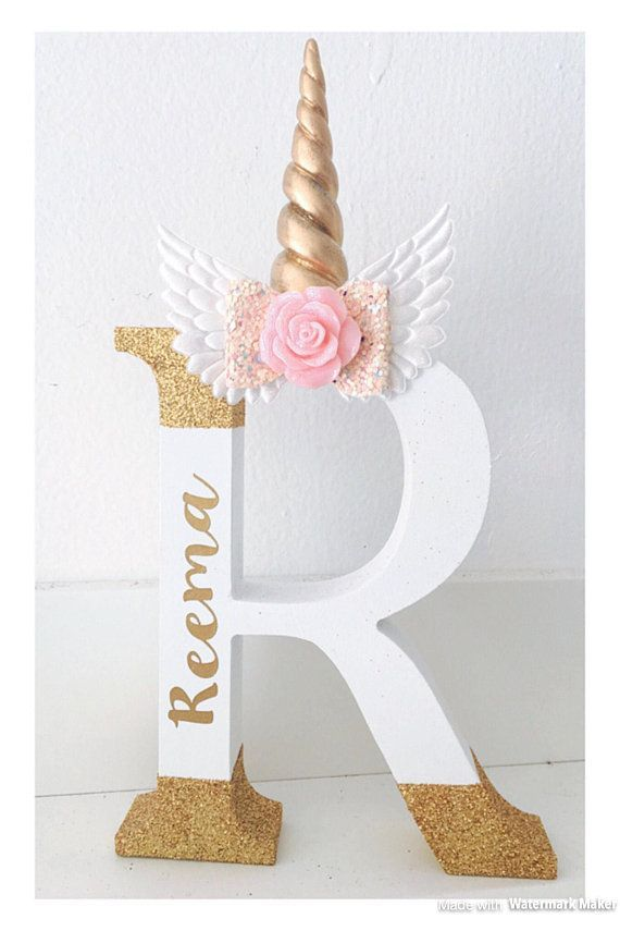 Wooden Unicorn letter, unicorn bedroom decor, new baby gift, unicorn shelf accessory, wood name letter, personalised unicorn gift #unicorncrafts