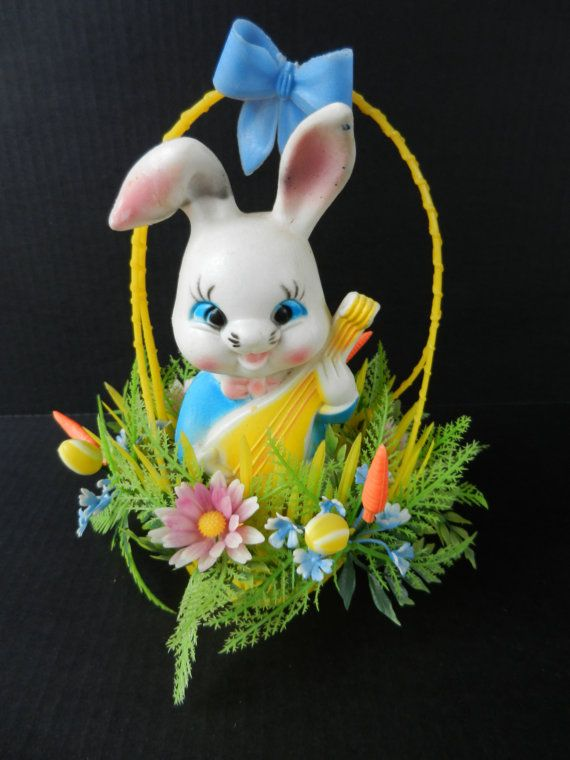 Vintage blow mold bunny in easter basket easter decoration vintage blow mold bunny in easter basket easter decoration centerpiece decor free shipping negle Images