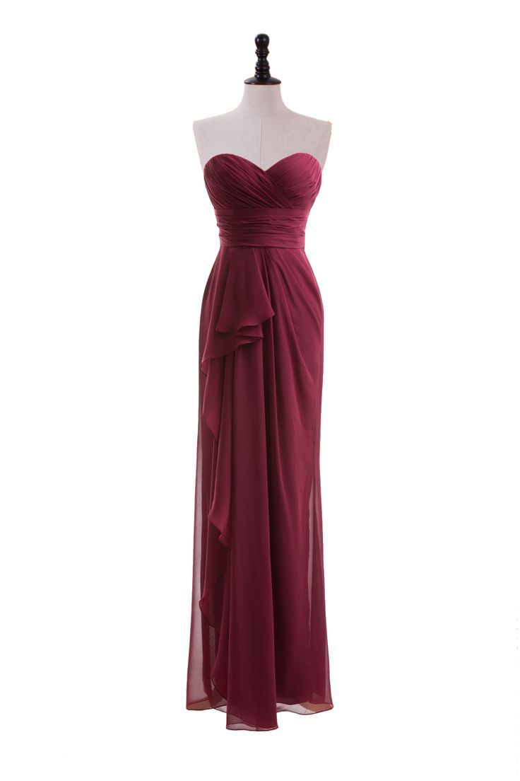 Long dresses for wedding party  Sweetheart Chiffon Dress with Side Draped Skirt  Dresses