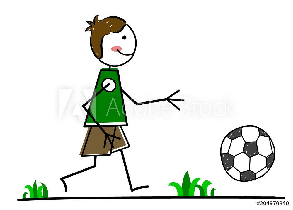 Kleiner Junge Spielt Fussball Illustrationen Clipart