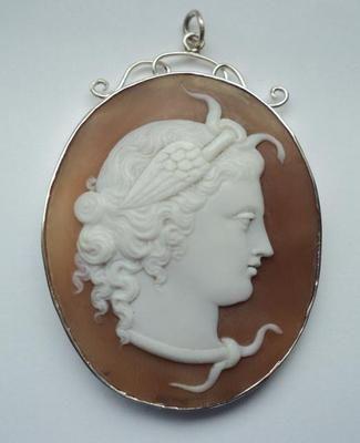 Antique Victorian carved Medusa Cameo silver pendant