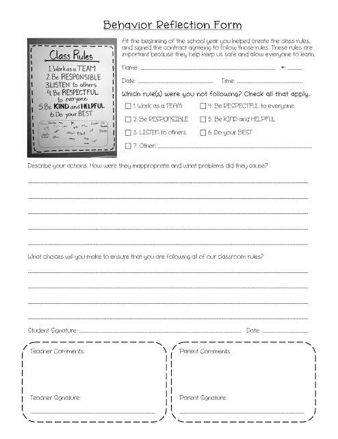 Behavior Reflection Form School stuff Pinterest Behavior - contract management spreadsheet