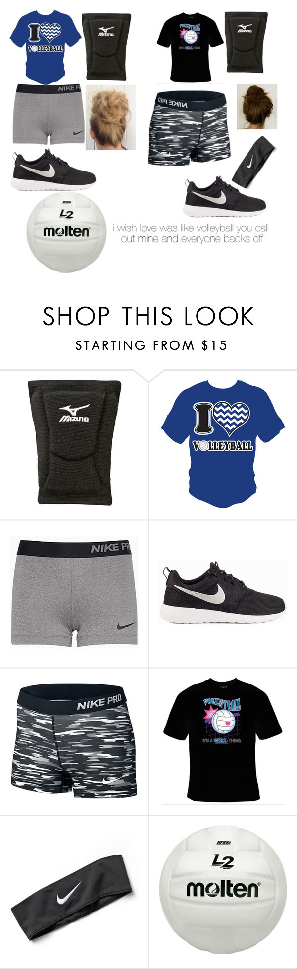"""""""volleyball with Serena"""" by gionnioutfits ❤ liked on Polyvore featuring Mizuno and NIKE"""