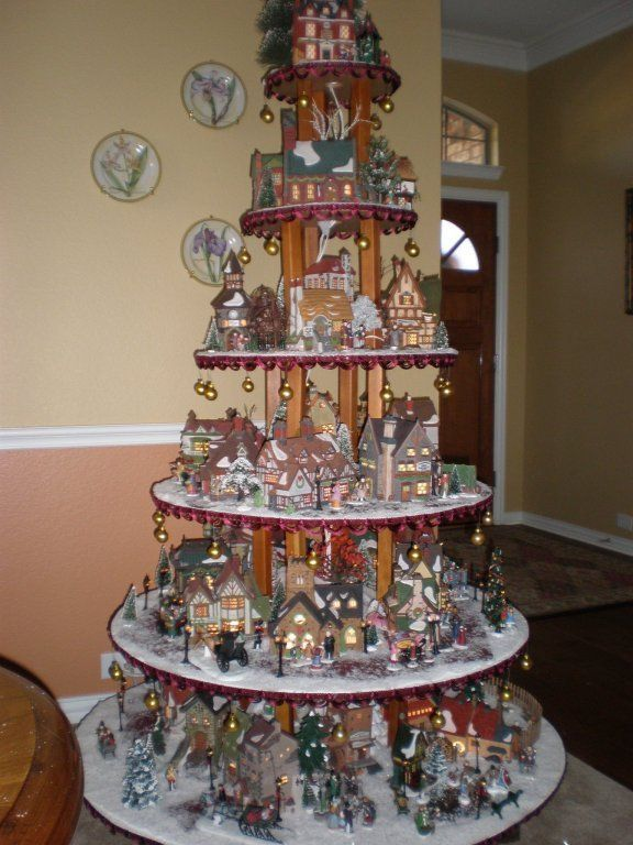 fantastic idea for Christmas village display | Christmas and ...