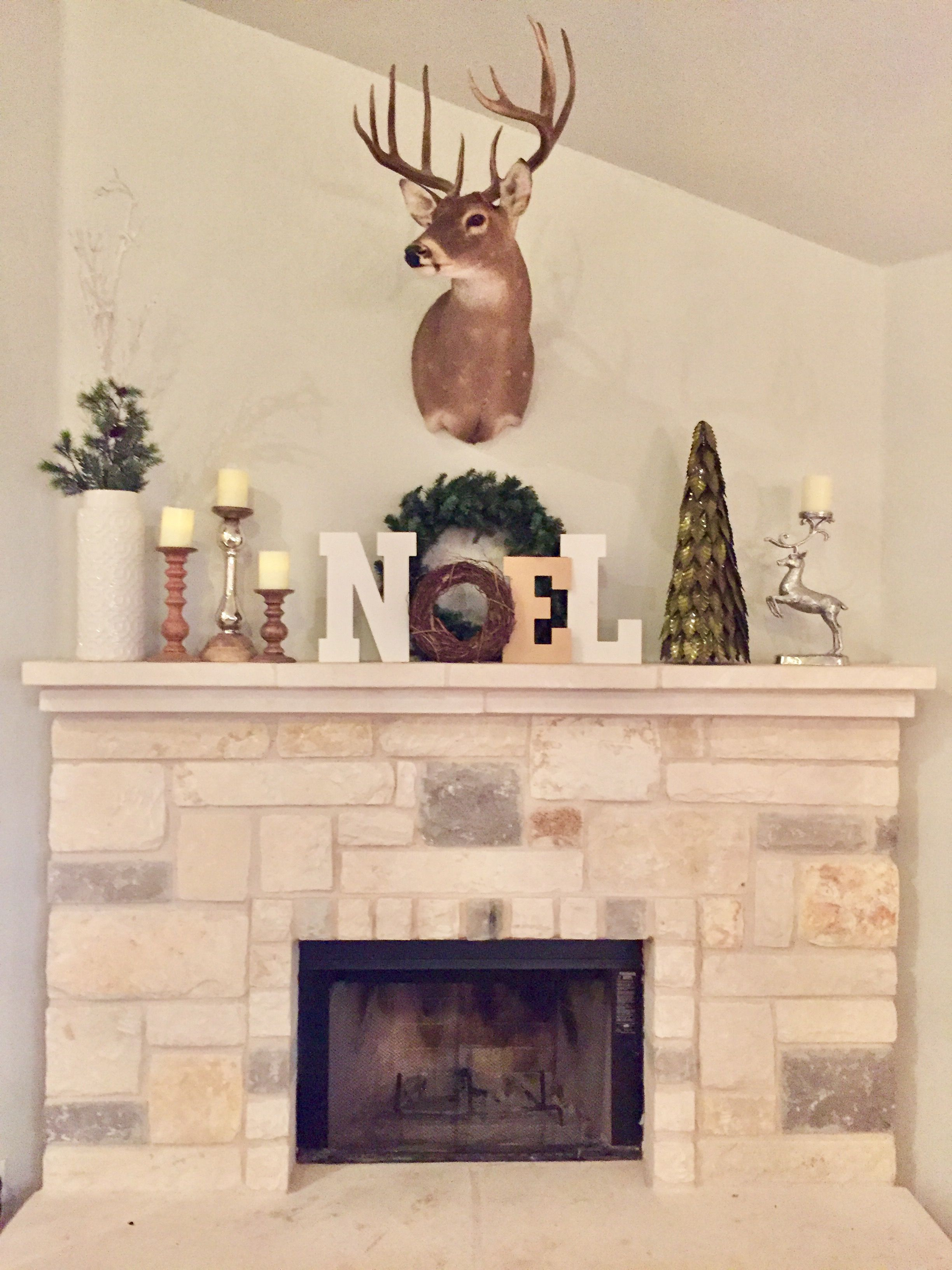 Christmas Mantle Decorations With A Deer Mount Country House