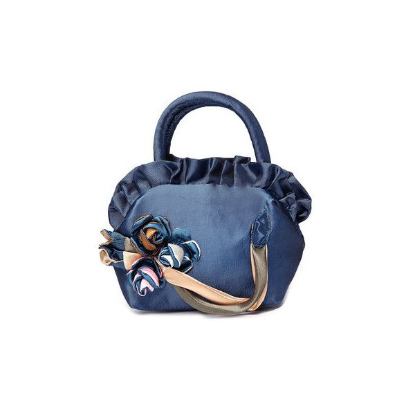 Mini Woman Handbag Lace Fabric Purse Flower Phone Pocket Portable... ($6.25) ❤ liked on Polyvore featuring bags, handbags, deep blue, dark blue handbags, flower purse, blue hand bag, handbag purse and zipper purse