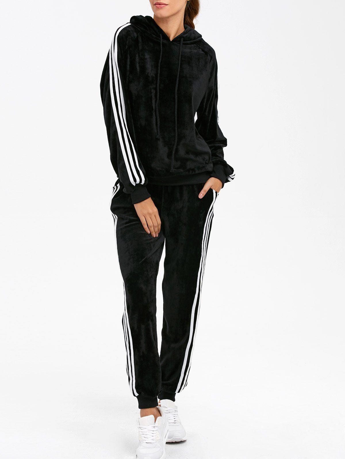 75174c34cdf241 Velvet Hoodie And Sweatpants BLACK: Gym Sets | ZAFUL | Sweats ...