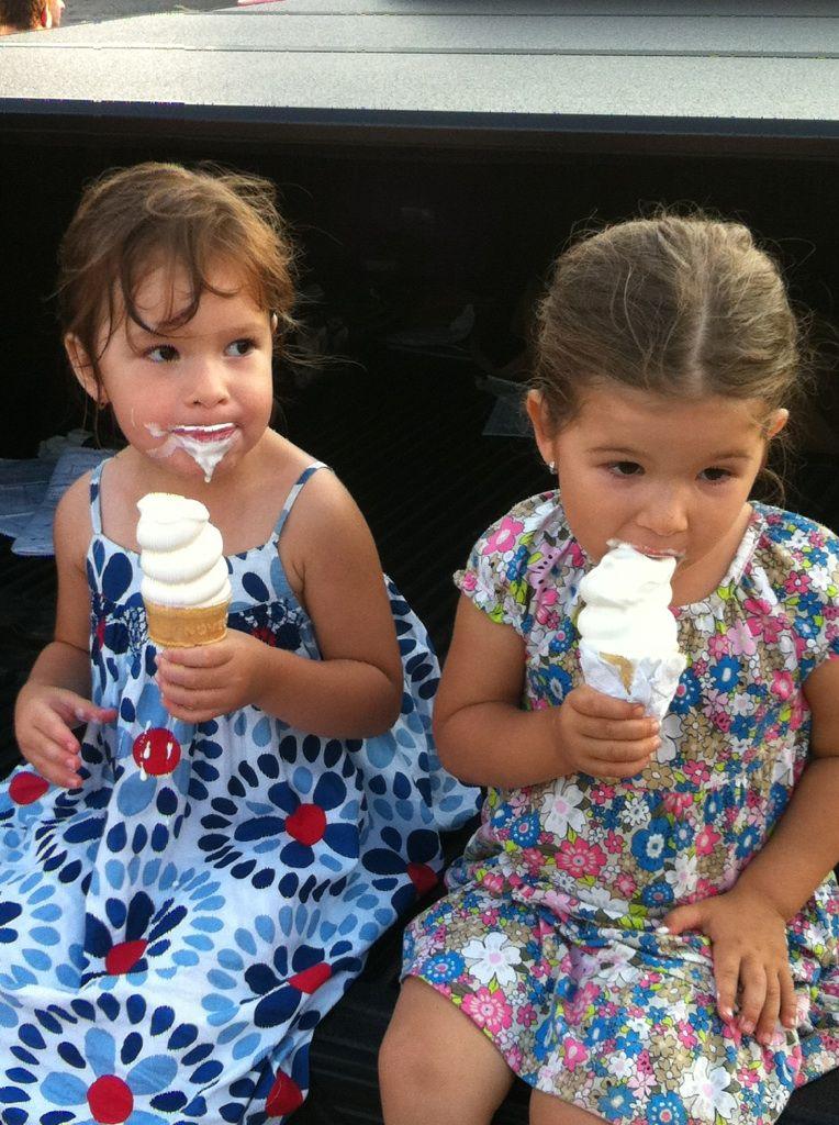 BFFs enjoying their ice cream! :)