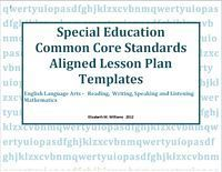 SPECIAL EDUCATION COMMON CORE ALIGNED LESSON PLAN TEMPLATES From - Special education teacher lesson plan template