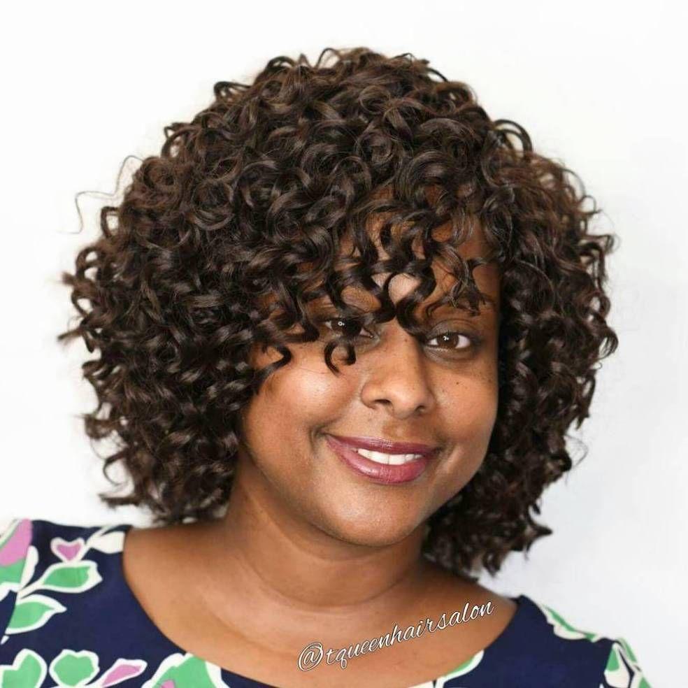 African American Curly Bob With Bangs Blackwomennaturalhairstyles