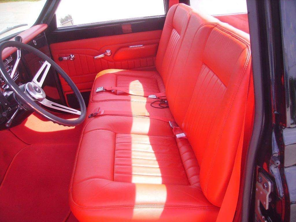 Bright red leather bench seat