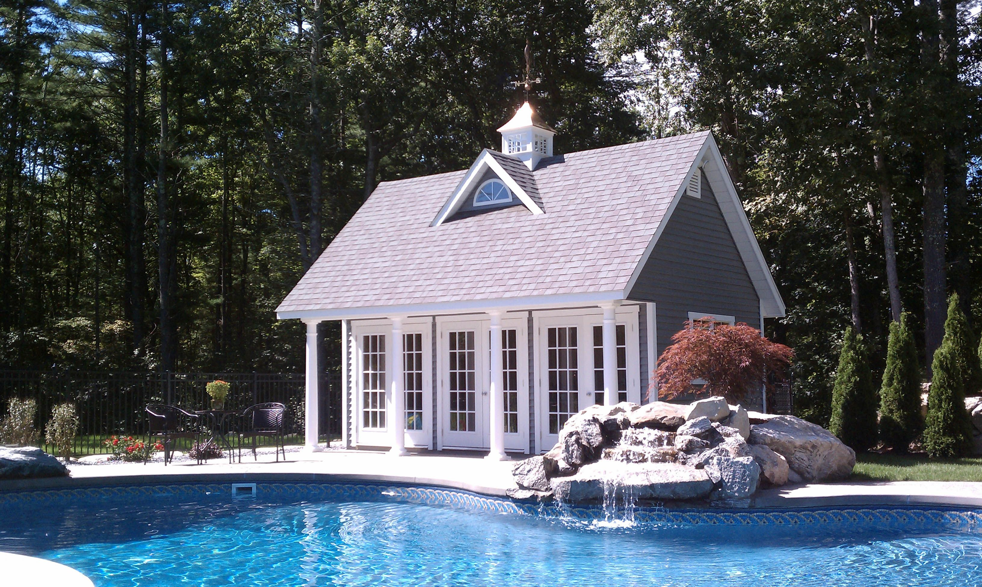 Reeds ferry sheds 14x20 elite pool house with duratemp for Pool house cabana