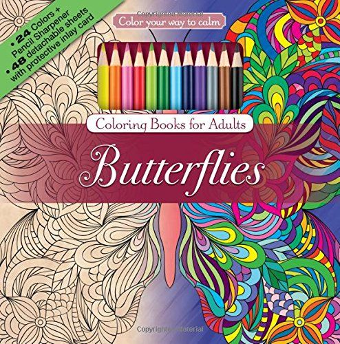 Butterflies Adult Coloring Book Set With 24 Colored Pencils And