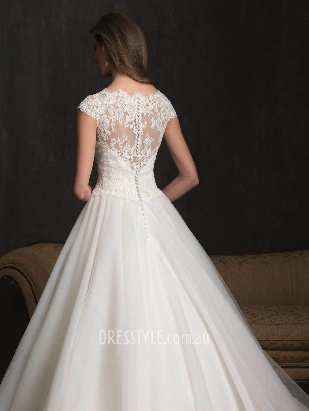 Understated Ball Gown Scoop Neck Cap Sleeve Lace Bodice Tulle ...
