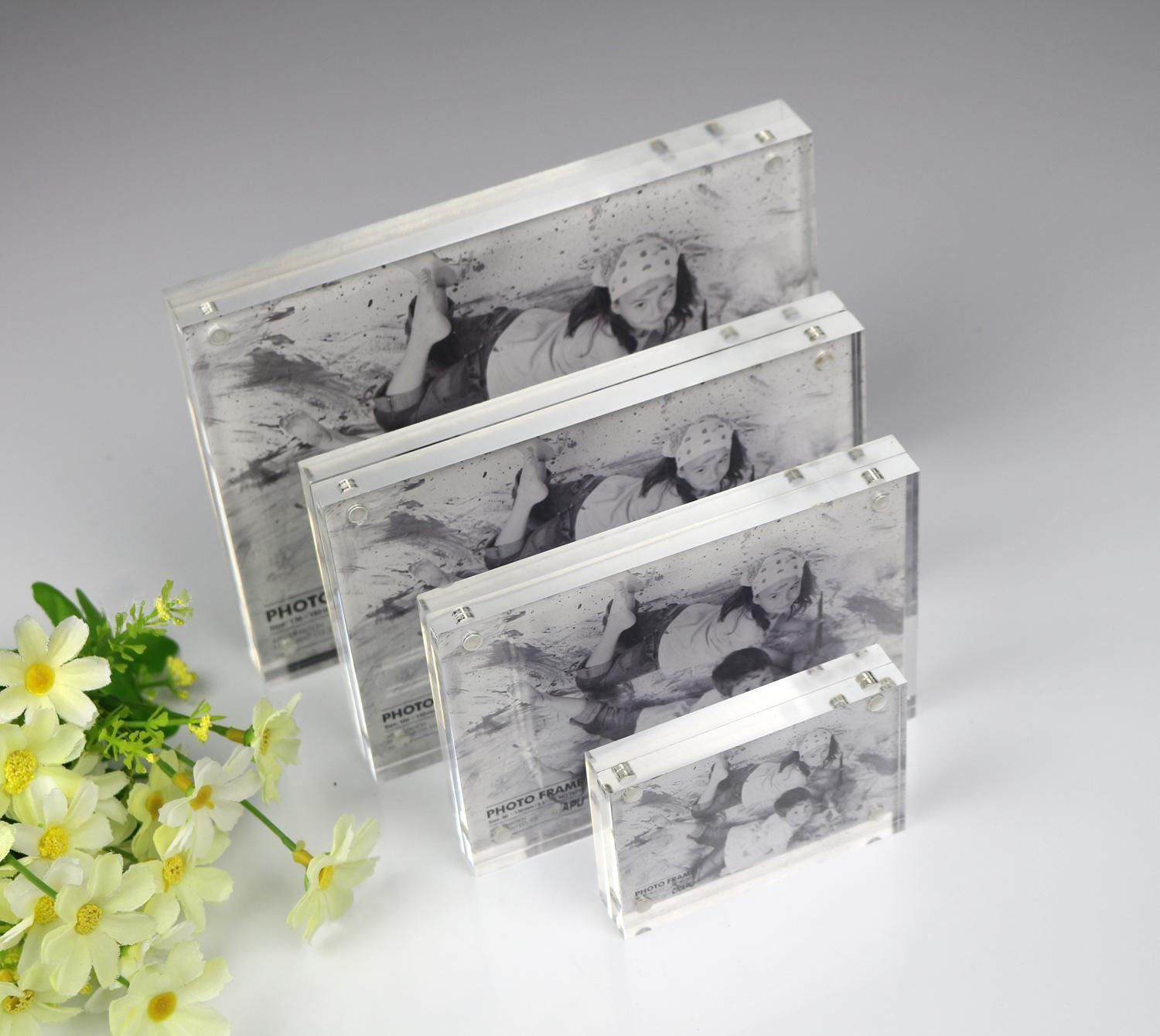 Acrylic Picture Frame 4x6 Clear Magnetic Photo Picture Frame Double