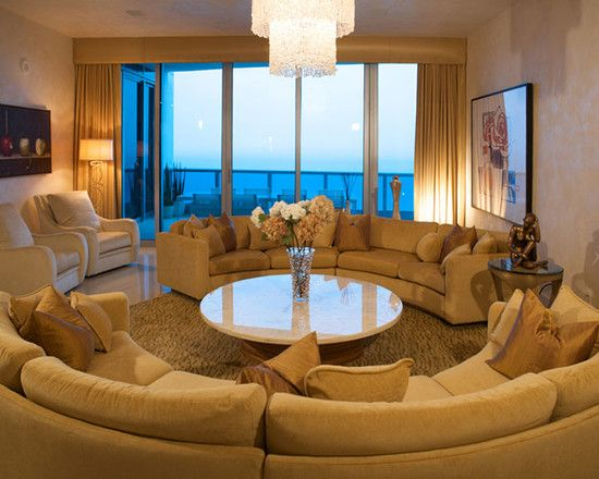Luxurious Rounded Living Room With Elegant Brown Color Design: Fabulous Living  Room With View Round
