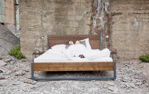 LOFT VINTAGE INDUSTRIAL BETT 200x200 HOLZ + STAHL - schlafzimmer bett 200x200