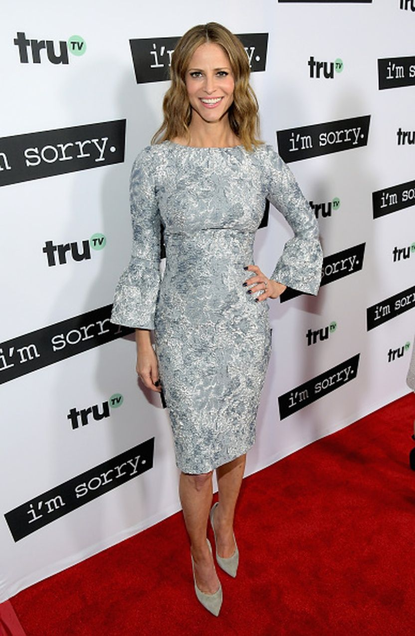Actress Andrea Savage Wears Our Silver Stretch Jacquard Bell