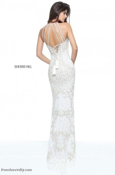 Sherri Hill 51207 Strappy Back Beaded Prom Dress- BACK VIEW | Sherri ...
