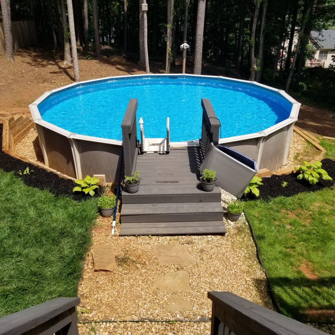 Pin By Danalour On Above The Ground Pool Ideas Deck Hill