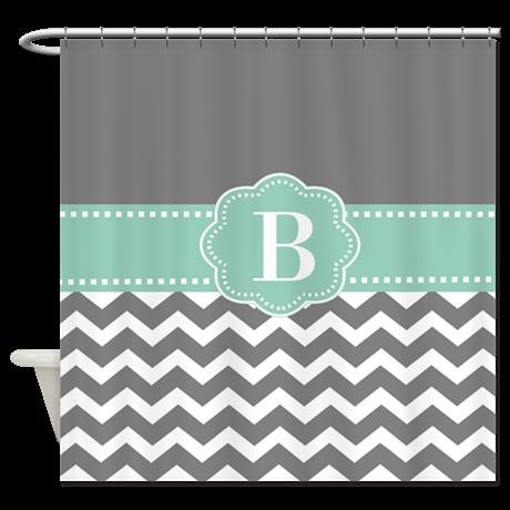 Gray Mint Green Chevron Monogram Shower Curtain On Cafepress Com Shower Curtain Monogram Gray Shower Curtains Chevron Monogram