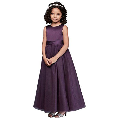 7a5435fdede Satin Flower Girl   Communion Dress with Tulle Skirt Style S1038 ...