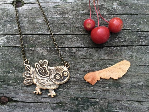 Funny folky Owl bronze charm necklace pendant by ciutecreations