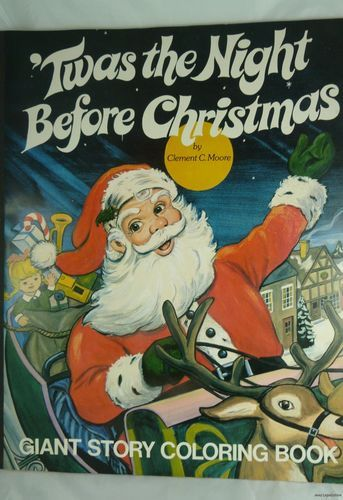 vintage 1977 twas the night before christmas giant coloring book santa claus ebay - Giant Coloring Book