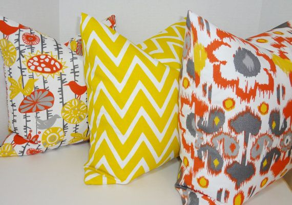 OUTDOOR Pillow Trio Floral Yellow Chevron Orange by ...