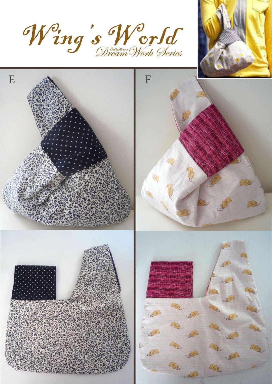 Lunch Bag/ Japanese Knot Bag/ Wristlet/ Shoulder Bag / road trip bag ...