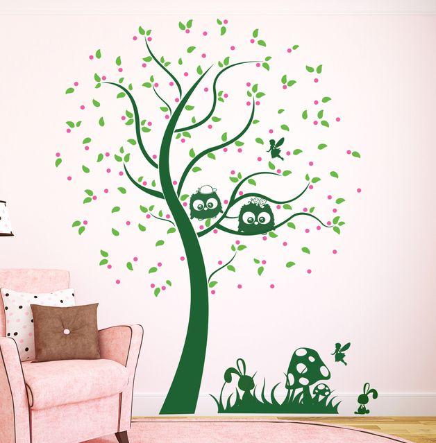 Wandtattoos   Wandtattoo Baum M. Eulen Eulenbaum Eule Fee M1155b   Ein  Designerstück Von IlkaParey