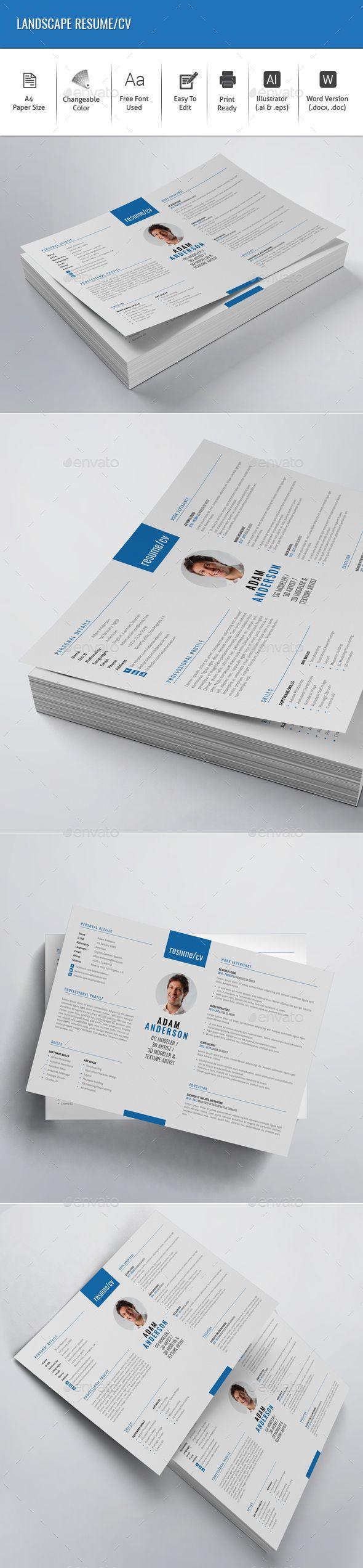 Landscape Resume/CV | Resume cv, Graphics and Resume layout