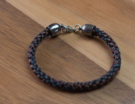 Leather and silk braided men's bracelet