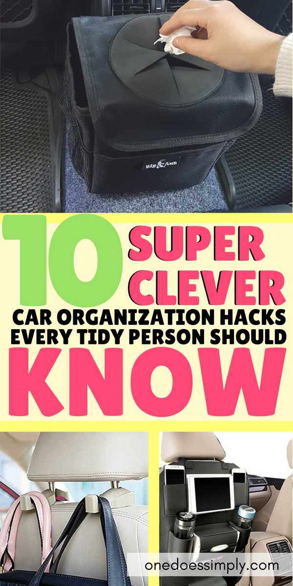 10 Super Easy Hacks to Organize Your Car is part of Organization Hacks Kids - How to organize your books, iPad, bags, and groceries inside your car effectively and quickly Here are some clever car organization hacks that are super easy and super effective to fight the mess  Organize your car interior and make it look tidier than ever! GO CHECK THEM OUT>>