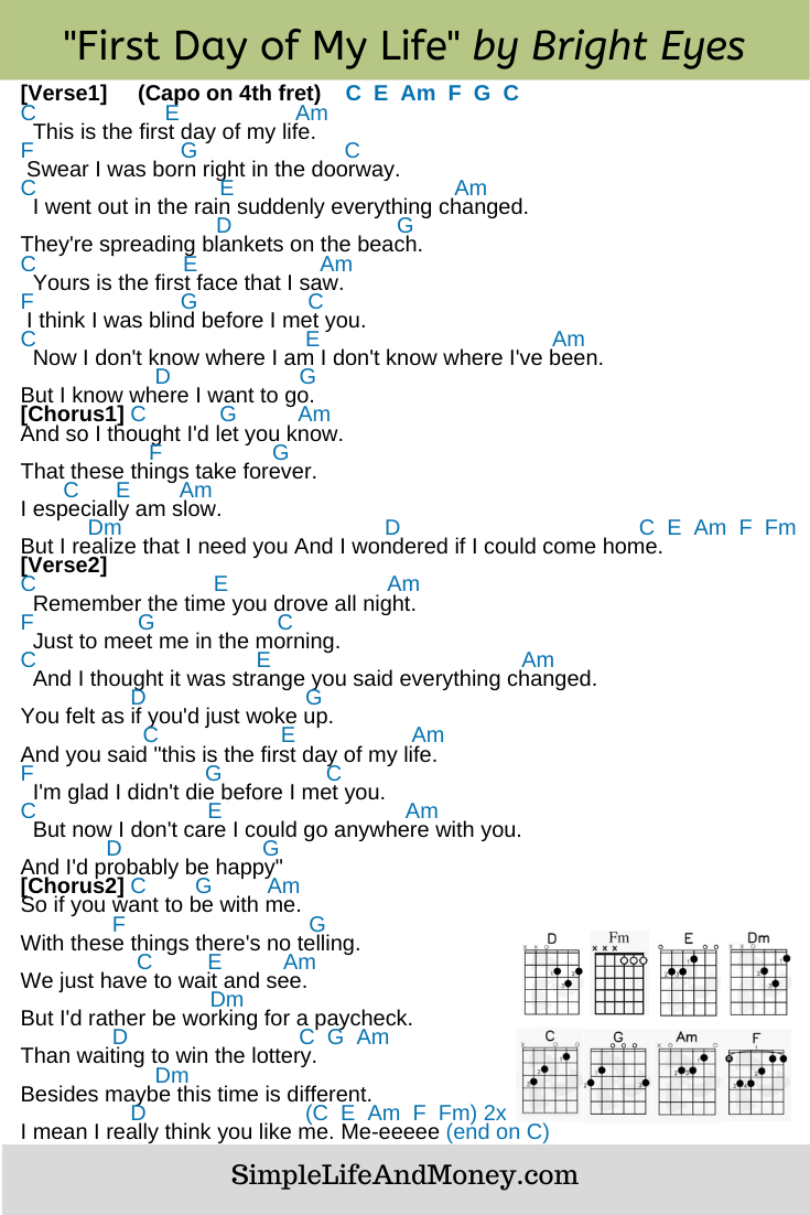 First Day Of My Life By Bright Eyes Guitar Chords For Songs Guitar Tabs Guitar Tabs And Chords