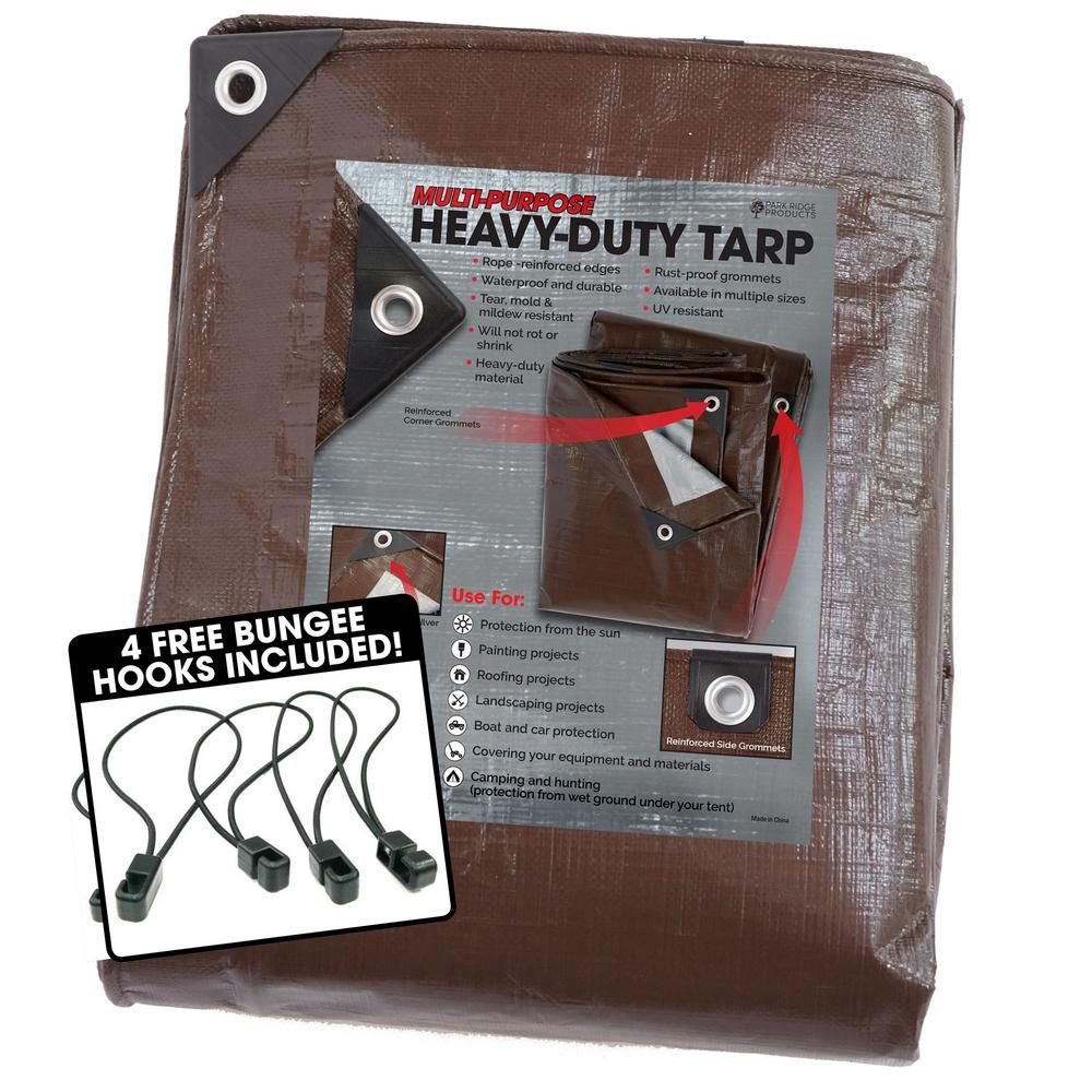 Tafco Products 12 Ft X 25 Ft Heavy Duty Brown Silver Reversible Poly 10 Mil Tarp Kit Include 4 Free Bungee Hook Tie Down Tarp1225b Boat Covers