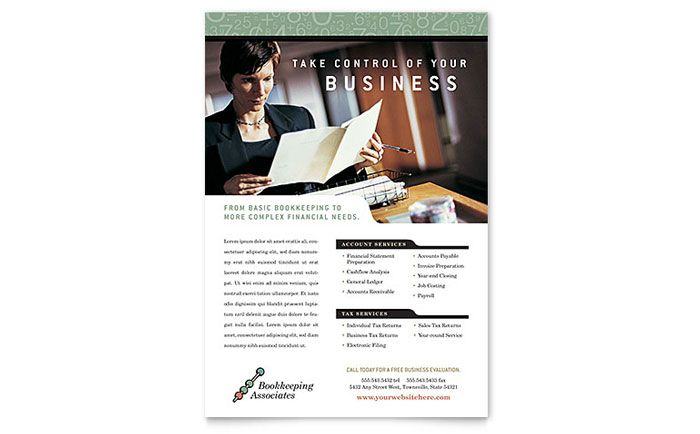 Bookkeeping And Accounting Services Flyer Template Design By