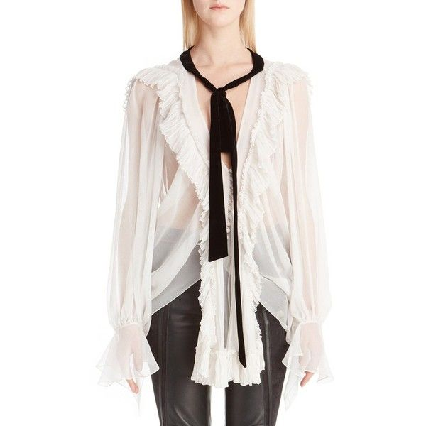 Women's Chloe Ruffle Trim Tie Neck Silk Peasant Blouse (199.465 RUB) ❤ liked on Polyvore featuring tops, blouses, chalk, white silk blouse, boho blouse, white tie blouse, silk neck ties and white peasant blouse