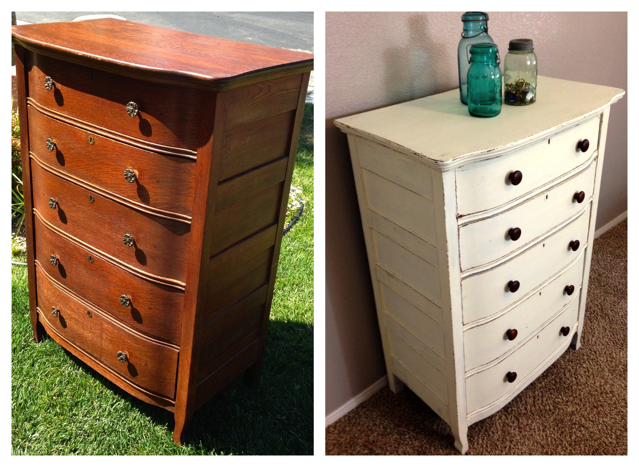 Vintage shabby refinished painted before and after for Refurbished bedroom furniture