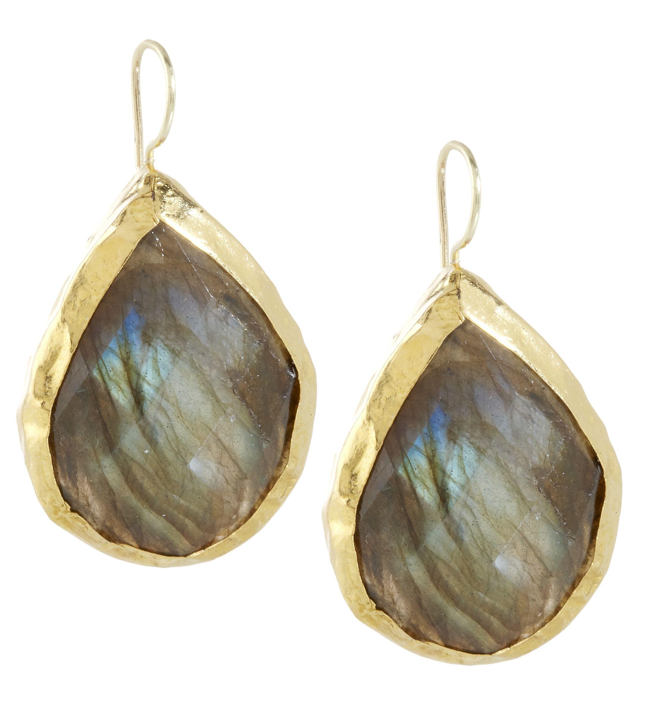 24k gold #labradorite drop earrings