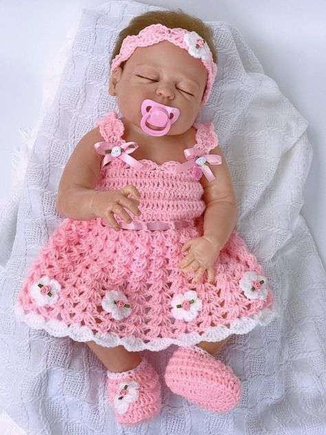 Baby dress, pink baby dress, Crochet baby dress, baby shower gift, Coming Home outfit, Baby Easter Dress, baby Clothing, Flower girl dress is part of Baby Clothes Dresses - shoes No shoes are included with size 1218 months or 1824 months size   This baby dress is made using 100 % Double knitting baby yarn  If you have any any other colour requests   concerns or questions, please contact me through Etsy Conversations   This baby dress can be made in any colour as per your choices  LENGTH Measure from the shoulder down to the knee   My standard sizings are 12  for 03 Months, 13  for 36 months and 15  for 612 months, 17  for 1218 months and 18  for 1824 months  TURN OVER TIME Made to order items can take up to 10 working days depending on the orders I already may have  I will dispatch it as soon as possible and update the shipping details as soon as I do with the tracking number NO SEAMS anywhere is what MAKES  all my items UNIQUE  No seams means extremely comfortable for baby's soft skin and nothing to come off later