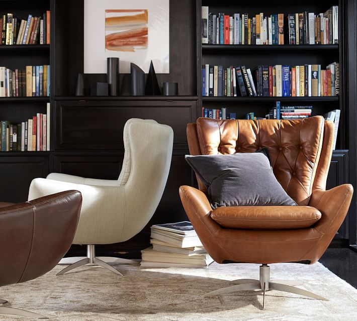 Wells Tufted Leather Swivel Armchair | Swivel armchair ...