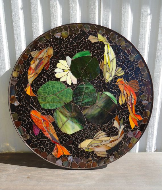 """MADE-to-ORDER 30"""" KOI mosaic table top patio bistro ..."""