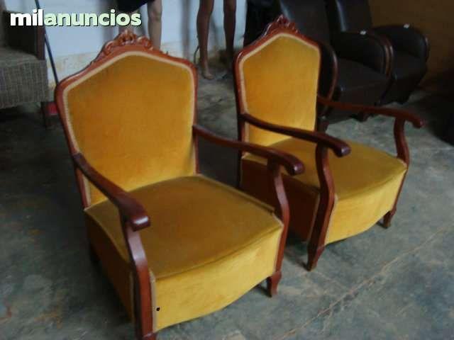 Antiguas butacas de madera vintage buen estado tapizado - Butacas originales ...