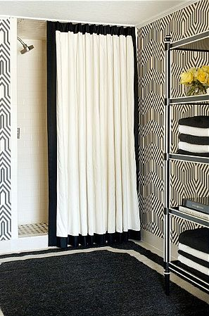 Black And White Bath Cortinas Blancas Cortinas De Bano Modernas